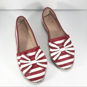 Kate Spade Linds Red White Stripe Bow Espadrilles